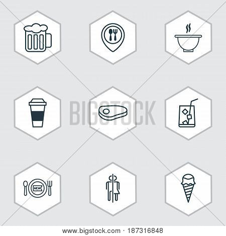 Set Of 9 Meal Icons. Includes Steak, Restroom, Dessert And Other Symbols. Beautiful Design Elements.