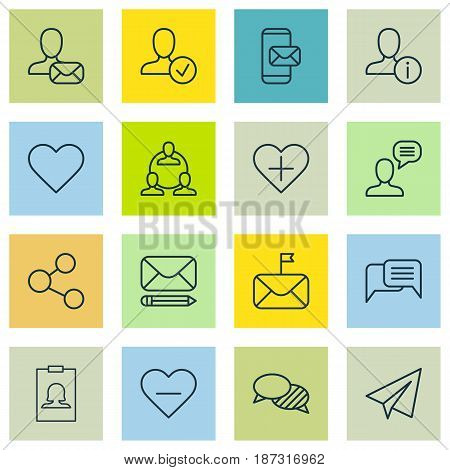 Set Of 16 Communication Icons. Includes Significant Letter, Online Letter, Speaking And Other Symbols. Beautiful Design Elements.
