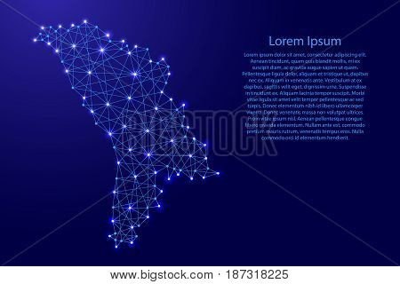 Map of Moldova from polygonal blue lines and glowing stars vector illustration