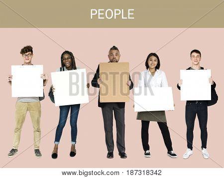 Adult People Hold Blank Paper Board Copy Space Studio Portrait
