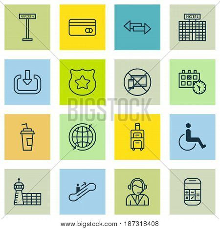 Set Of 16 Airport Icons. Includes Plastic Card, Cop Symbol, Moving Staircase And Other Symbols. Beautiful Design Elements.