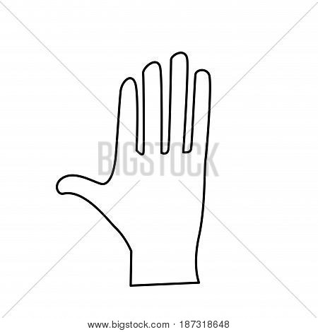 line cute human hand with all fingers, vector illustration