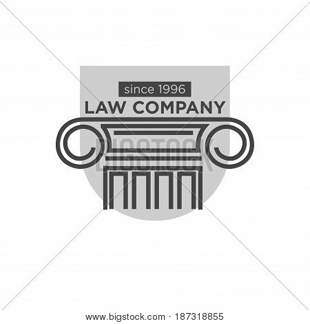 Authoritative law company that exists since 1996 monochrome logotype with ancient Greek pillar black outline, grey figure behind and sign above isolated vector illustration on white background.