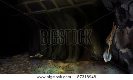 Entrance to an abandoned mine or to a large Cave with Shovel. Digital Painting Background Illustration in cartoon style character.