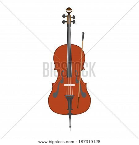 Vector illustration of cello isolated on a white background. Flat style design.