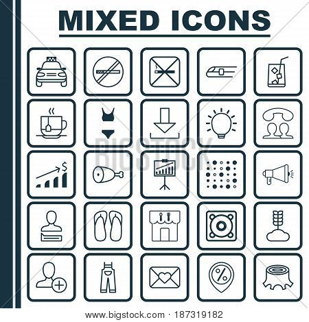 Set Of 25 Universal Editable Icons. Can Be Used For Web, Mobile And App Design. Includes Elements Such As Cereal, Restaurant, Fried Poultry And More.