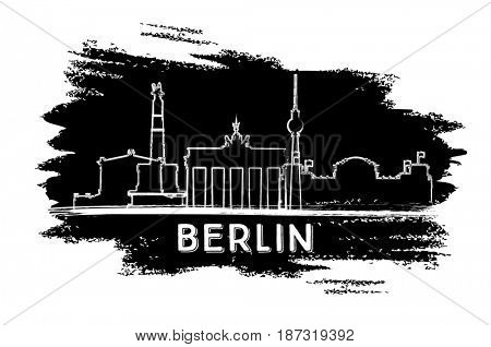 Berlin Skyline Silhouette. Hand Drawn Sketch. Business Travel and Tourism Concept with Modern Architecture. Image for Presentation Banner Placard and Web Site.