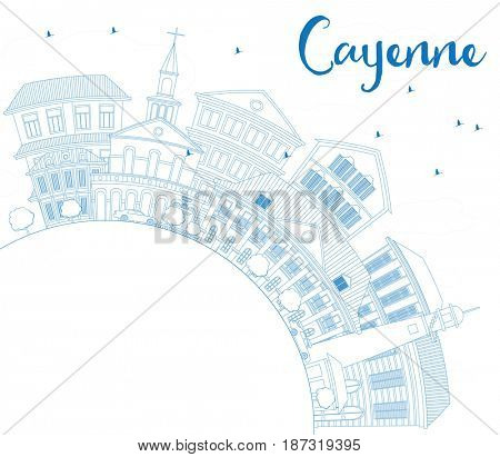 Outline Cayenne Skyline with Blue Buildings and Copy Space. Business Travel and Tourism Concept with Modern Architecture. Image for Presentation Banner Placard and Web Site.