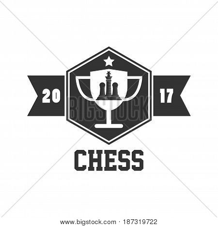 Big chess competition 2017 black and white emblem logo design. Trophy cup silhouette with pawns and king figures inside, ribbon with year and sign underneath isolated vector illustration on white