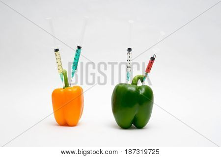 Gmo Concept On White Background With  Syringes And Peppers
