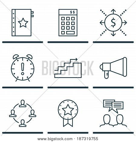 Set Of 9 Project Management Icons. Includes Announcement, Time Management, Collaboration And Other Symbols. Beautiful Design Elements.