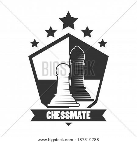 Chessmate club black and white emblem logo design. Pawns inside figure, chess board, five-pointed stars above and sign on ribbon underneath isolated vector illustration on white background.