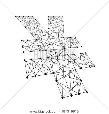 Japanese yen sign from polygonal black lines and dots of vector illustration