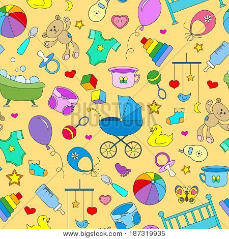 Seamless pattern on the theme of childhood and newborn babies baby accessories accessories and toys simple color icons on yellow background