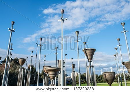 MELBOURNE, AUSTRALIA - AUGUST 15 2015: Federation Bells are a set of 39 bronze bells located in Birrarung Marr in central Melbourne.