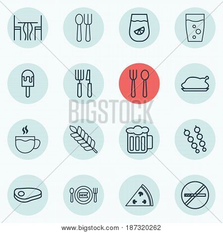 Set Of 16 Meal Icons. Includes Lemonade, Pepperoni, Fork Knife And Other Symbols. Beautiful Design Elements.