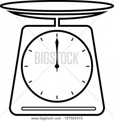 Kitchen Scale Icon  Raster Illustration