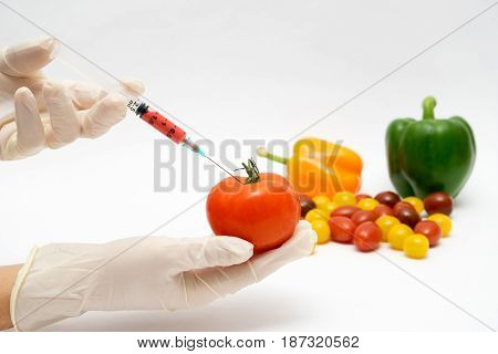Gmo Experiment Scientist Injecting Liquid Into Tomato On White Background