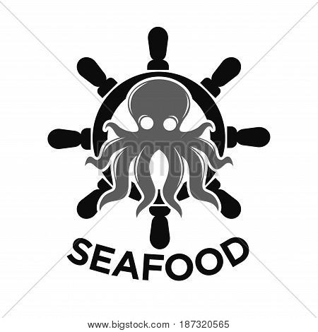 Seafood logotype with isolated black helm and grey octopus inside. Vector colorless illustration in flat design of label presenting company specialising on sea products. Meal from fish template