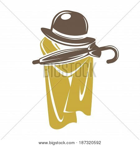 Gentleman accessory logo, collection of brown hat with umbrella and yellow cape. Vector colorful illustration in flat design of pieces of clothes for male people or label for special establishment.