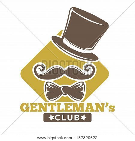 Private luxury gentlemans club retro logotype with vintage tall hat, elegant bowtie, curled mustache, yellow rhombus behind and big sign underneath isolated vector illustration on white background.