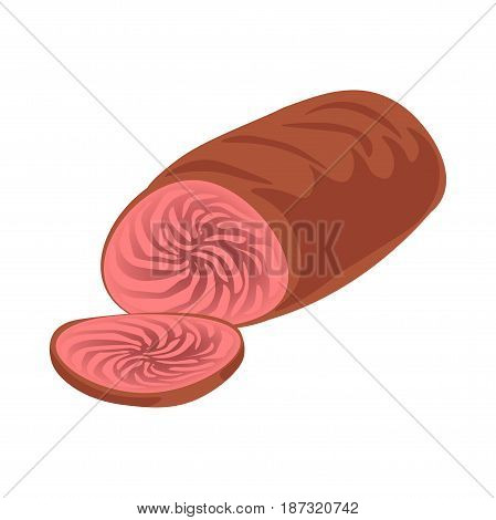 Vector illustration of cooked meat and cut slice isolated on white.