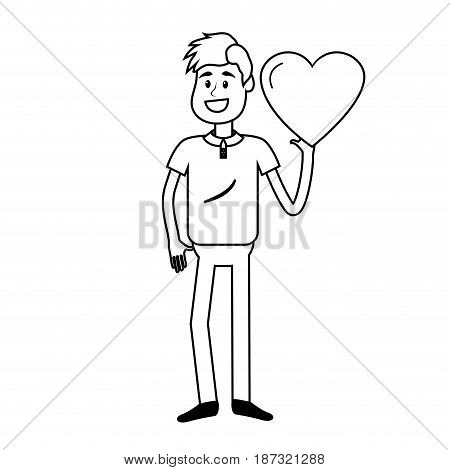 line man with nice heart in his hand and cute wear, vector illustration