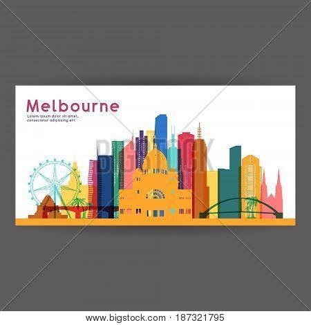 Melbourne colorful architecture vector illustration skyline city silhouette skyscraper flat design.