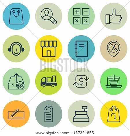 Set Of 16 E-Commerce Icons. Includes Spectator, Calculation Tool, Delivery And Other Symbols. Beautiful Design Elements.
