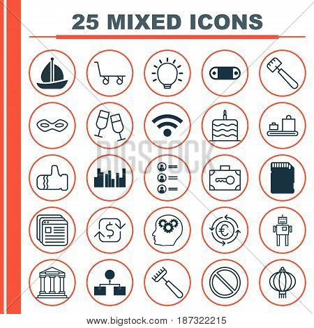 Set Of 25 Universal Editable Icons. Can Be Used For Web, Mobile And App Design. Includes Elements Such As Job Applicants, Currency Recycle, Memory Card And More.