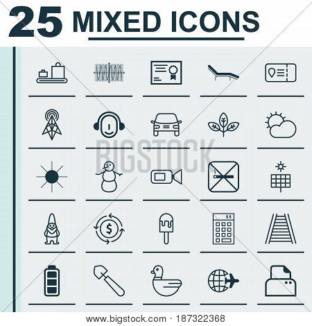 Set Of 25 Universal Editable Icons. Can Be Used For Web, Mobile And App Design. Includes Elements Such As Certificate, Worldwide Flight, Sunshine And More.