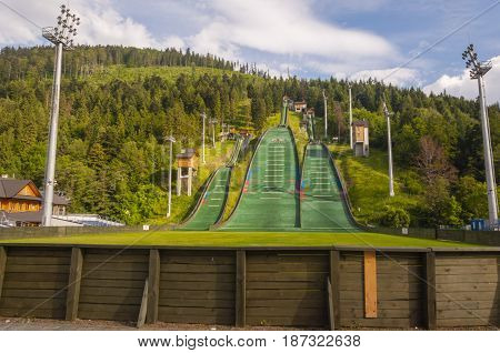 Complex Of Ski Jumps In Szczyrk.