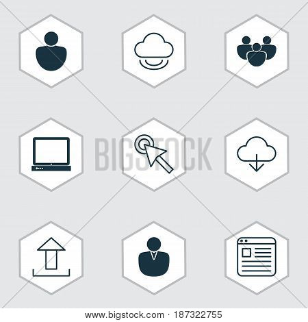 Set Of 9 Web Icons. Includes Save Data, Send Data, Virtual Storage And Other Symbols. Beautiful Design Elements.