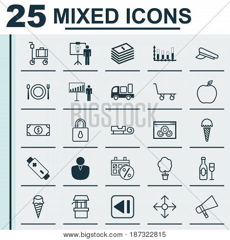 Set Of 25 Universal Editable Icons. Can Be Used For Web, Mobile And App Design. Includes Elements Such As Suitcase Pushcart, Last Song, Web Page Performance And More.