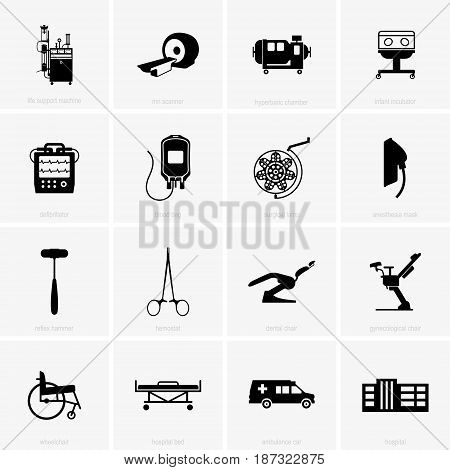 Set of sixteen hospital equipment, shade pictures