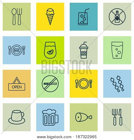 Set Of 16 Meal Icons. Includes Soda Drink, Stop Smoke, Coffee Cup And Other Symbols. Beautiful Design Elements.
