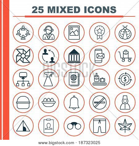 Set Of 25 Universal Editable Icons. Can Be Used For Web, Mobile And App Design. Includes Elements Such As Pair Of Glasses, Laptop Ventilator, Autumn Plant And More.