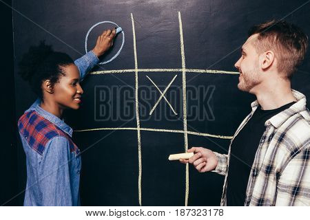 Man Woman Play Game Tic Tac Toe White Black Fun Leisure Entertainment Pastime Together Battle Competition Brain Concept