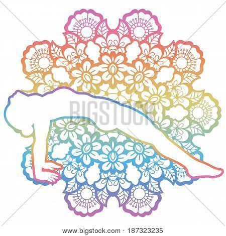 Mandala round background. Upward Plank Pose. Purvottanasana. Vector illustration