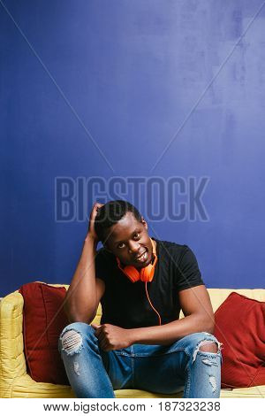 Afroamerican Guy Headphones Home Leisure Man Lazy Young Meloman Music Background Concept