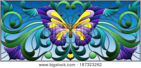 Illustration in stained glass style with bright butterfly and floral ornament on a blue background