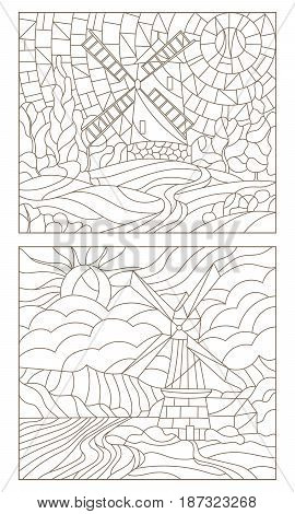 Set contour illustrations of the stained glass of landscapes with windmills