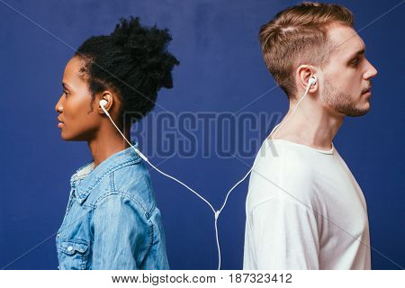 Music Man Woman Earphones Connect Together White Black Listen Couple Togetherness Love Equality Unity Connection Relationship Concept
