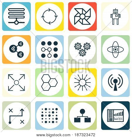 Set Of 16 Robotics Icons. Includes Controlling Board, Information Base, Lightness Mode And Other Symbols. Beautiful Design Elements.
