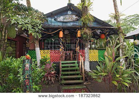 TORTUGUERO, COSTA RICA-MARCH 21, 2017: Bar and Restaurante in Tortuguero, Costa Rica