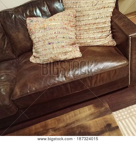 Classic brown leather sofa with two decorative cushions.