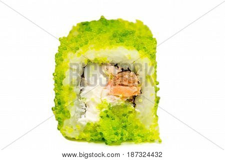green roll closeup isolated on white background
