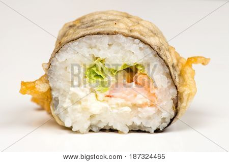 beautiful sushi roll closeup isolated isolated on gray background