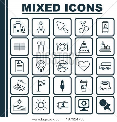 Set Of 25 Universal Editable Icons. Can Be Used For Web, Mobile And App Design. Includes Elements Such As Privacy Information, Sweet Berry, Suitcase Checking And More.