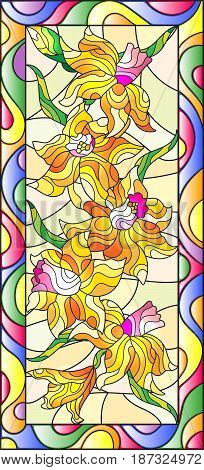 Illustration in stained glass style with daffodils on light backgroundvertical orientation
